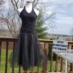 Un Deux Trois BLACK Tulle Halter Dress Sz XS EUC